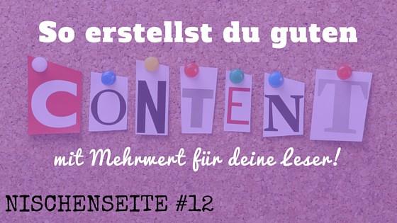 NISCHENSEITE #12 Content erstellen